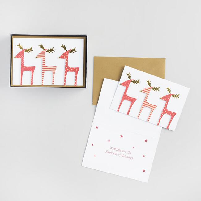 Three Reindeer in a Row Boxed Holiday Cards  Set of 15