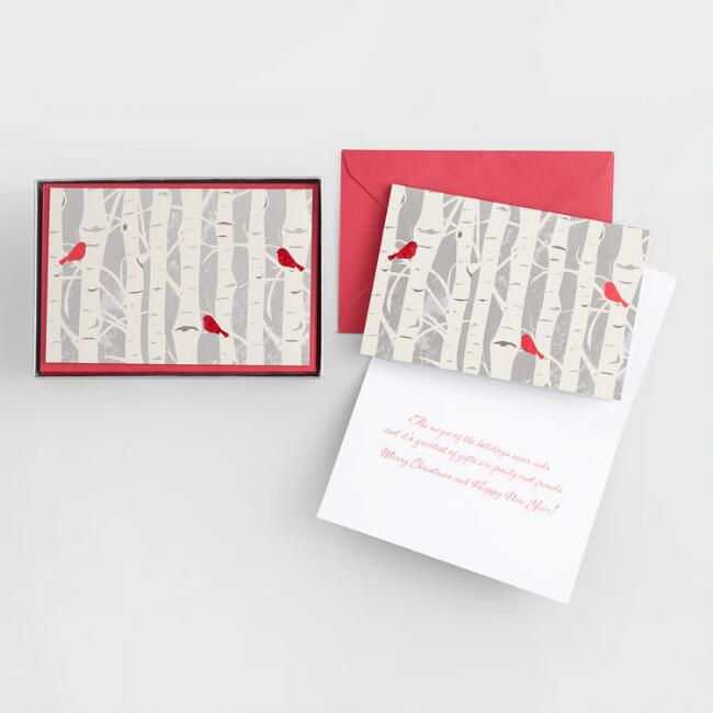 Snowbirds in  Trees Boxed Holiday Cards Set of 15