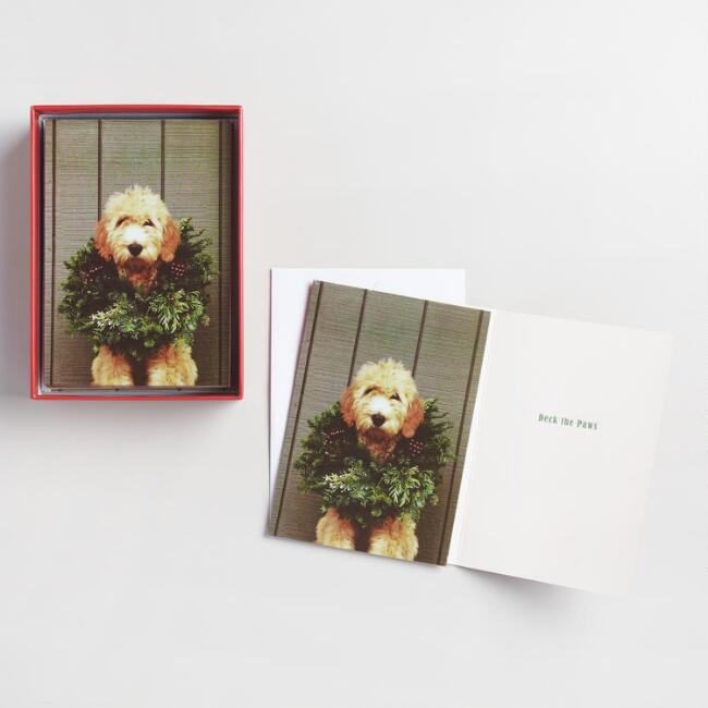 Dog with Wreath Boxed Holiday  Cards Set of 20