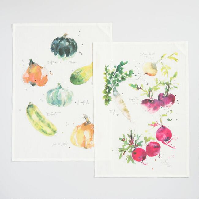 Radish and Gourd Kitchen Towels Set of 2