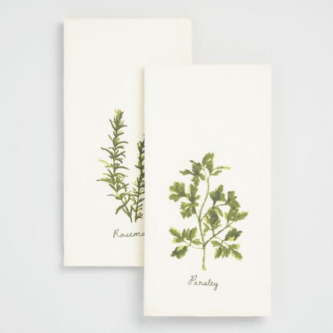 Parsley and Rosemary Kitchen Towels Set of 2