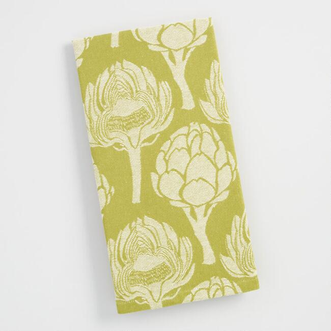 Green  Artichoke Jacquard  Kitchen Towel