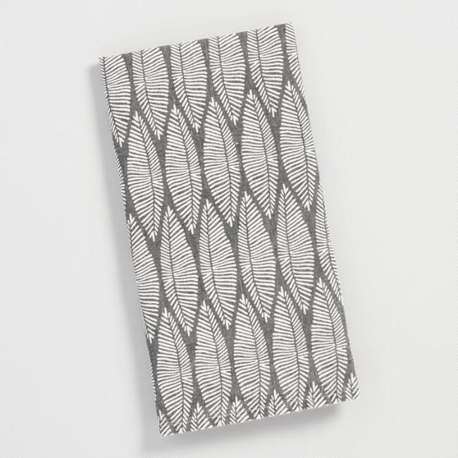 Gray Leaf Print Linen Kitchen Towel