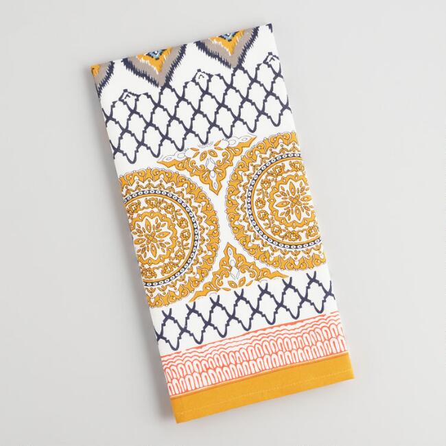 Yellow and Blue Jaipur Patchwork Kitchen Towel