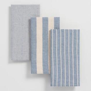 Blue Stripe Kitchen Towels Set Of 3