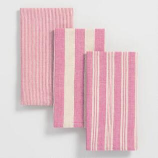 red stripe kitchen towels set of 3. beautiful ideas. Home Design Ideas