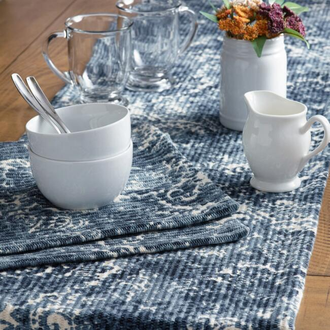 Blue Medallion Print Serena Table Linen Collection