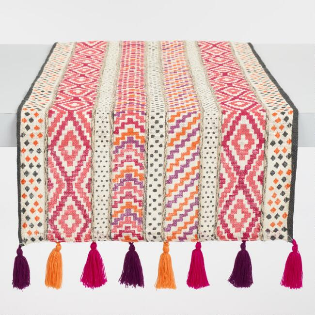 Embroidered Suzanne Table Runner with Tassels