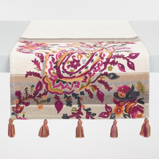 Embroidered Paisley Elizabeth Table Runner
