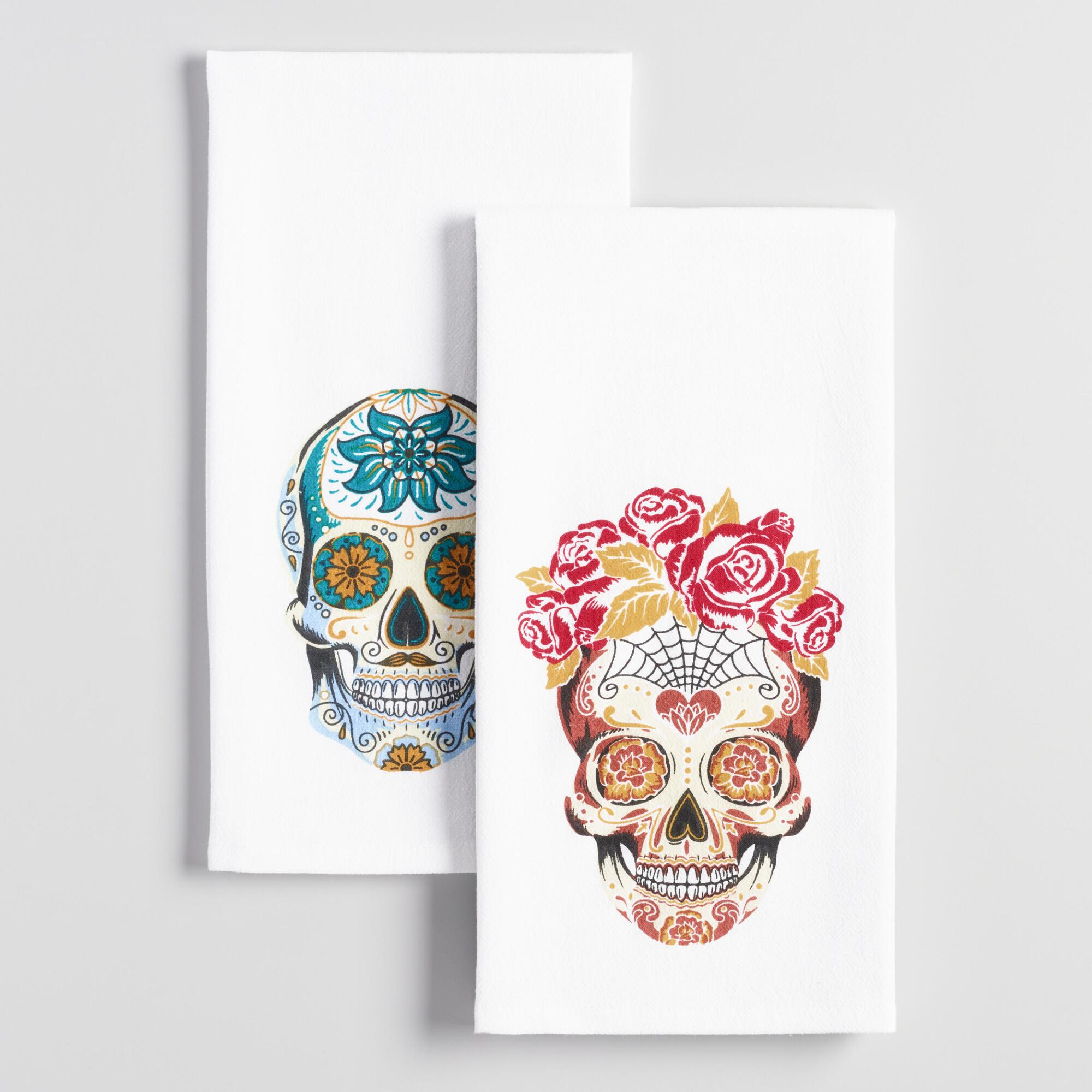 Los Muertos Skull Kitchen Towels Set of 2 | World Market