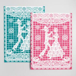 magenta and teal los muertos kitchen towels set of 2. beautiful ideas. Home Design Ideas