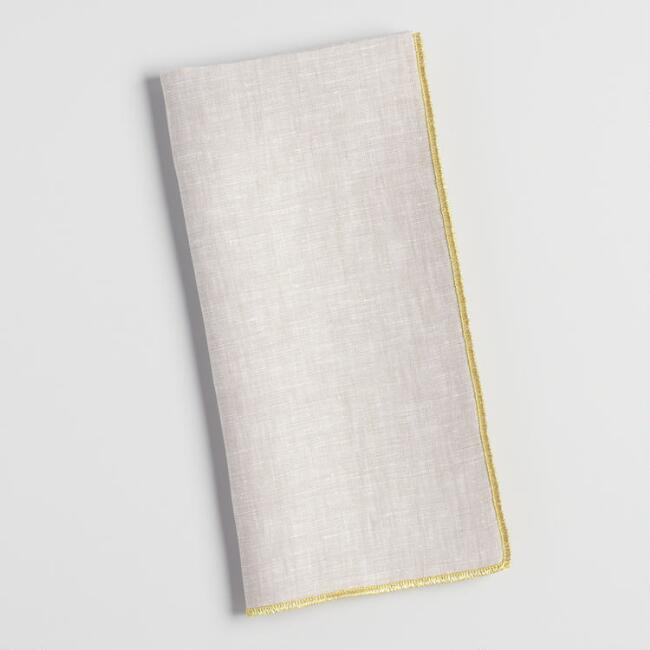 Linen Napkins With Gold Trim Set of 4