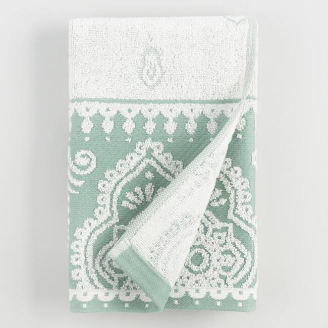 Ivory and Chinois Green Adilah Hand Towel