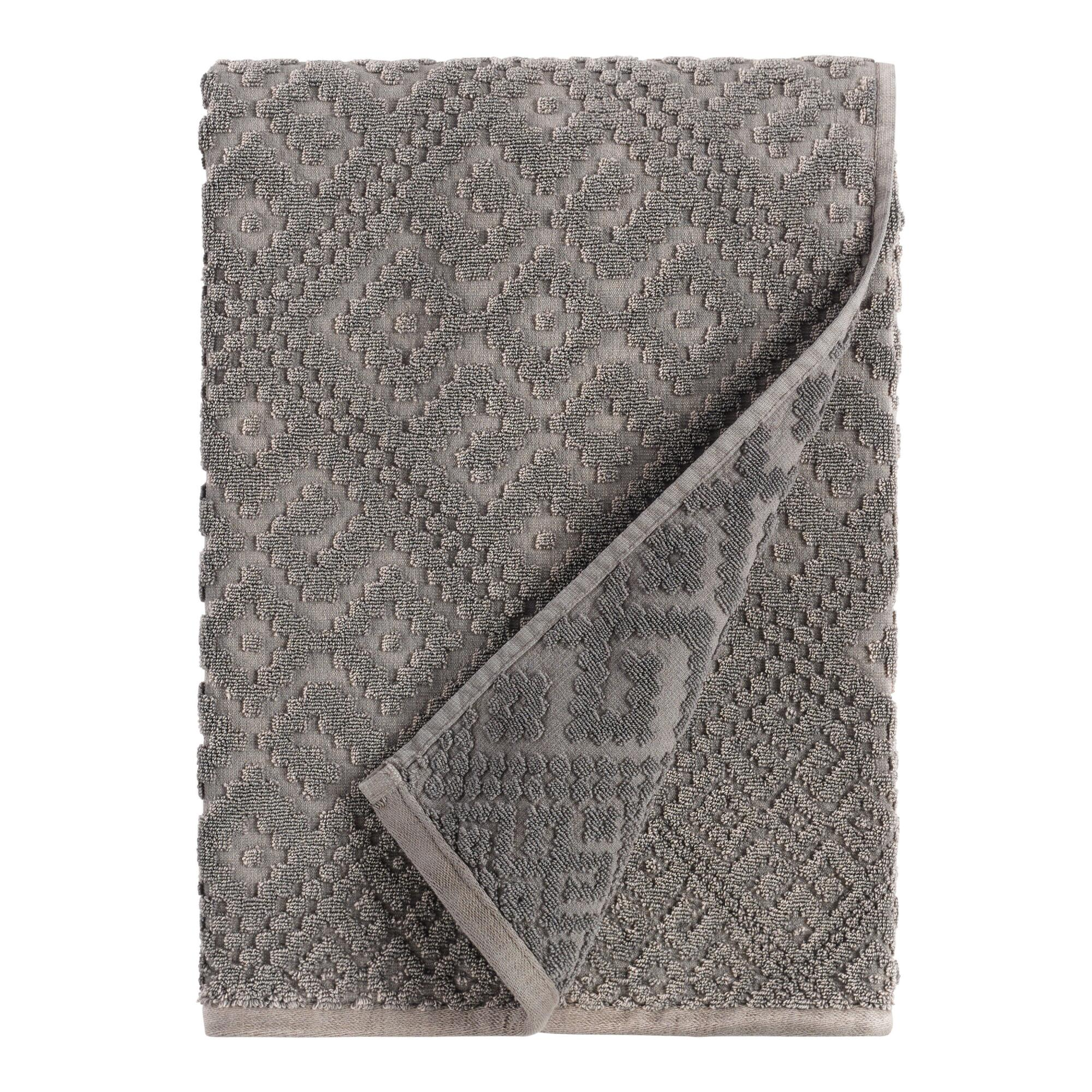 Charcoal Gray Geo Nova Bath Towel - Cotton by World Market