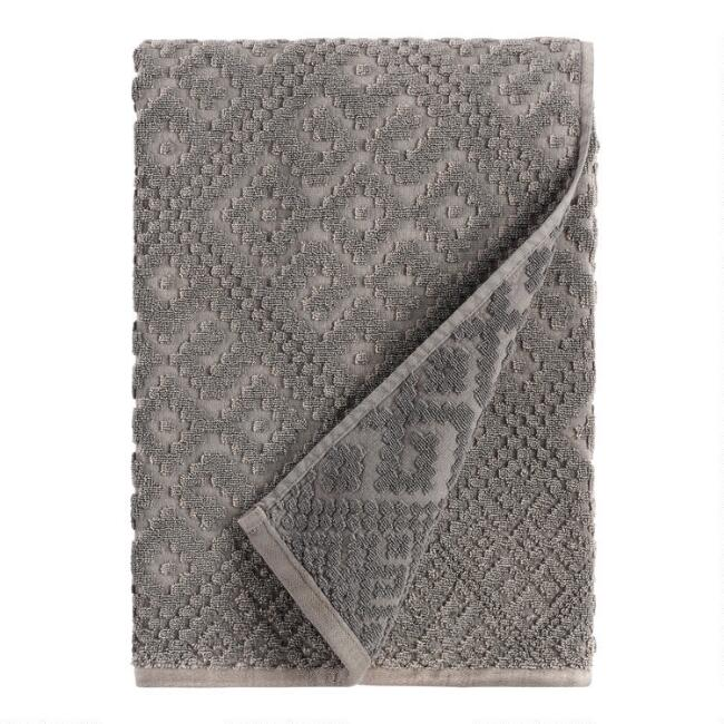 Charcoal Gray Geo Nova Bath Towel