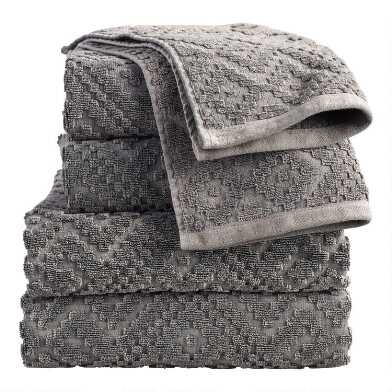 Charcoal Gray Geo Nova Towel Collection