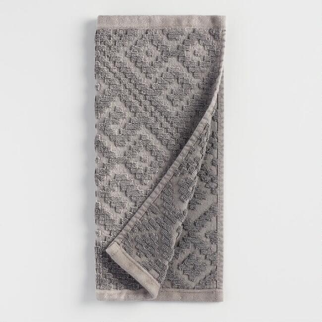 Charcoal Gray Geo Nova Washcloth Set of 2