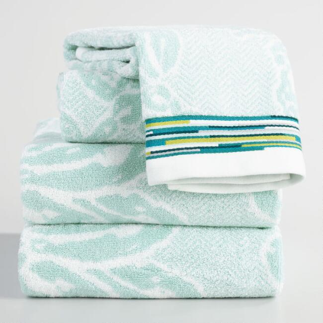 Aqua Floral Jacquard Leilani Towel Collection