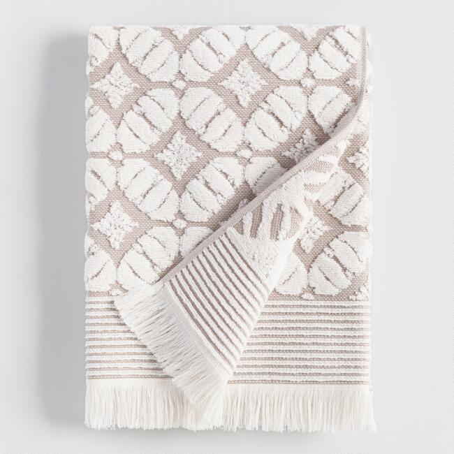 Taupe Lattice Nadia Bath Towel