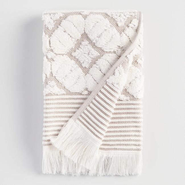Taupe Lattice Nadia Hand Towel