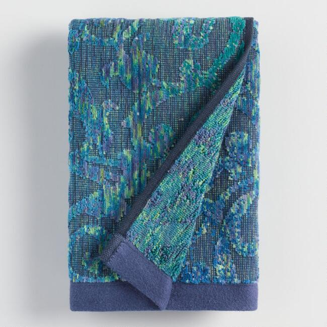 Teal and Blue Damask Chiara Hand Towel