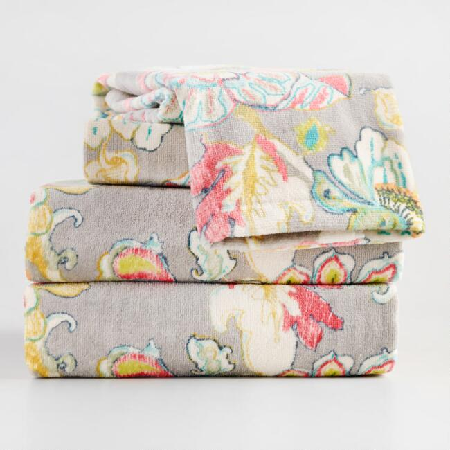 Pink and Gray Floral Corinne Towel Collection