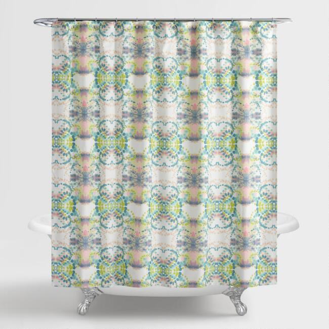 Green and Aqua Paola Shower Curtain
