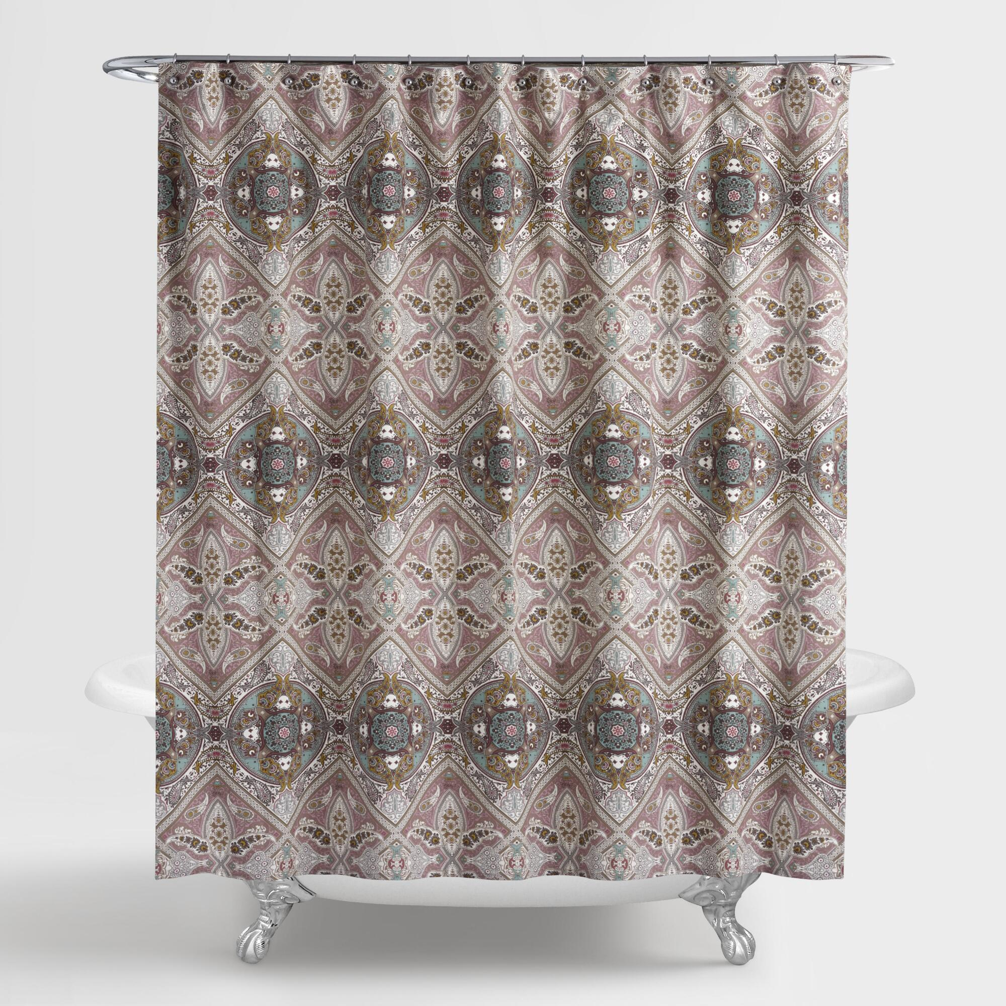 Throw pillows cards mugs shower curtains - Lilac And Taupe Medallion Donatella Shower Curtain