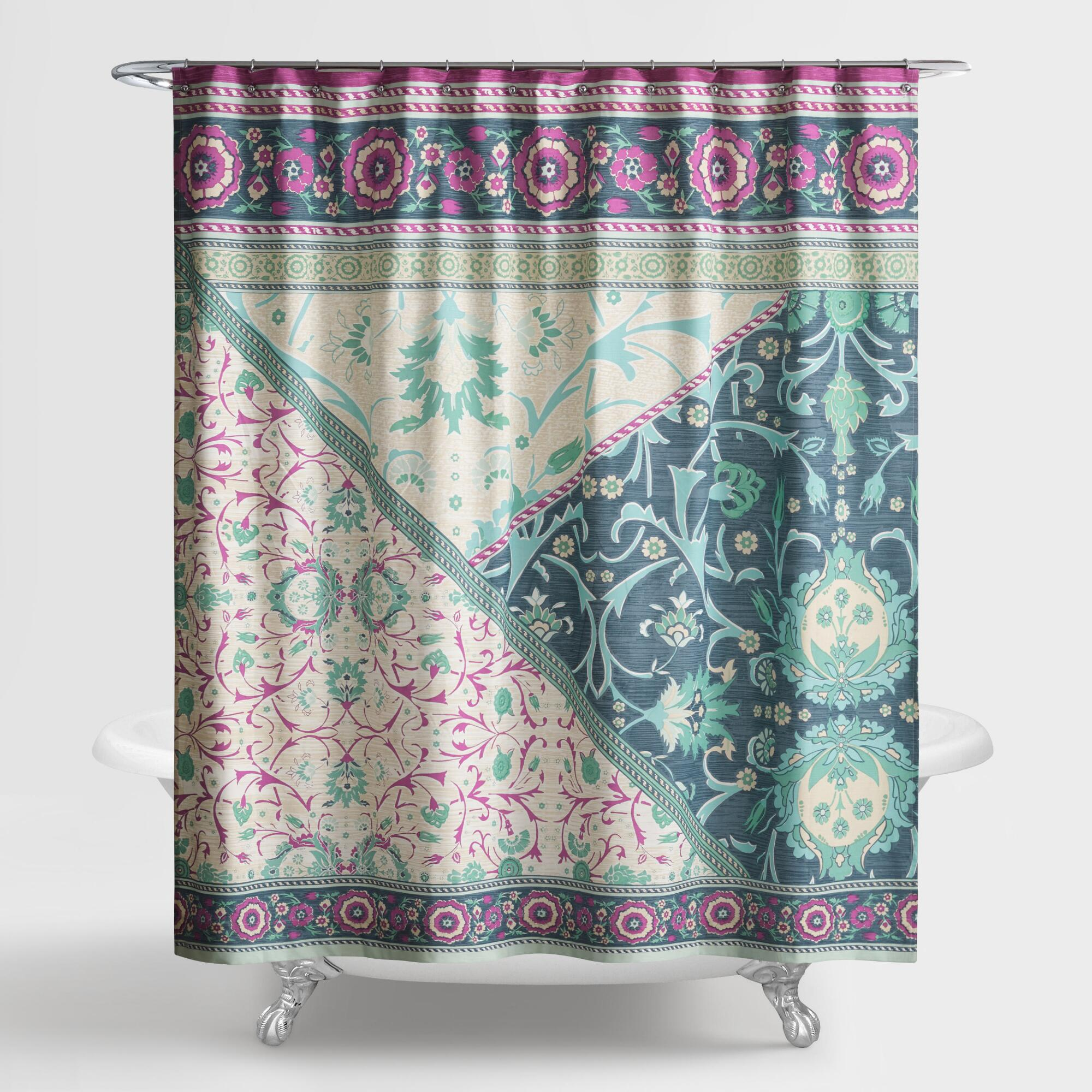 Throw pillows cards mugs shower curtains - Magenta And Indigo Patchwork Mara Shower Curtain