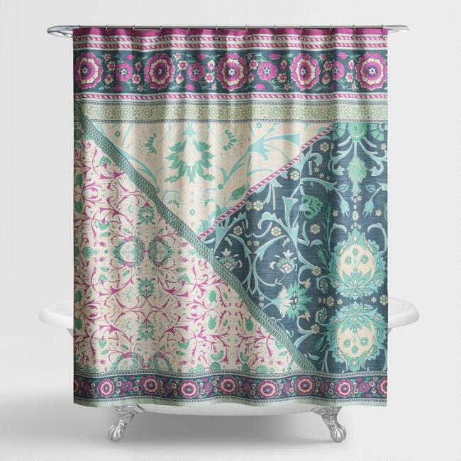 Magenta and Indigo Patchwork Mara Shower Curtain
