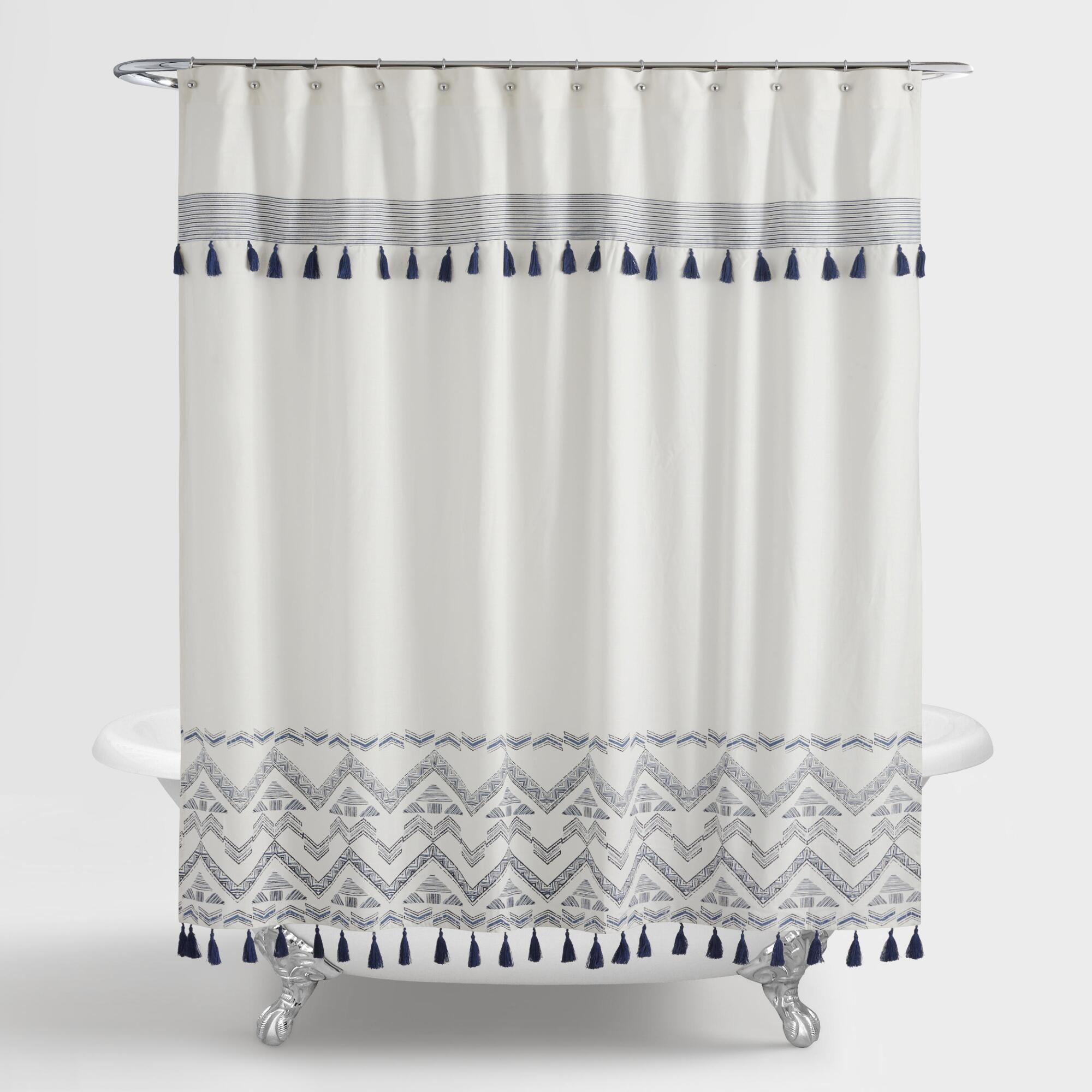 Throw pillows cards mugs shower curtains - Indigo And White Tribal Zanzibar Shower Curtain