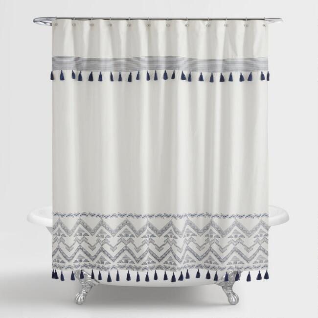 Indigo And White Tribal Zanzibar Shower Curtain