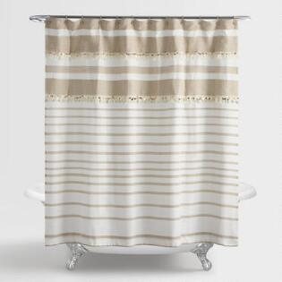 dark grey shower curtain. Tan and White Wedding Blanket Shower Curtain Curtains  Rings World Market
