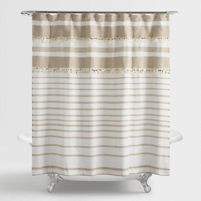 Tan and White Wedding Blanket Shower Curtain