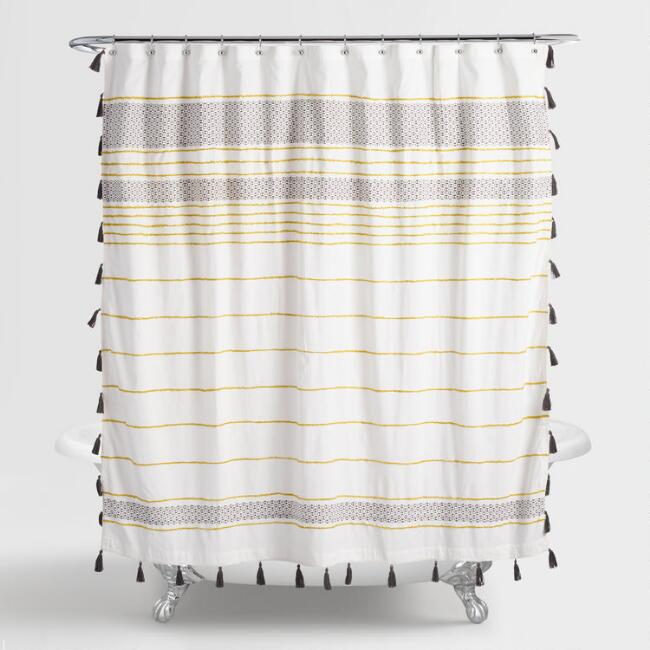 Green and Gray Embroidered Akila Shower Curtain | World Market