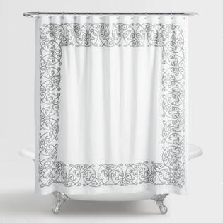 white and silver shower curtain. Gray Embroidered Serena Shower Curtain Curtains  Rings World Market