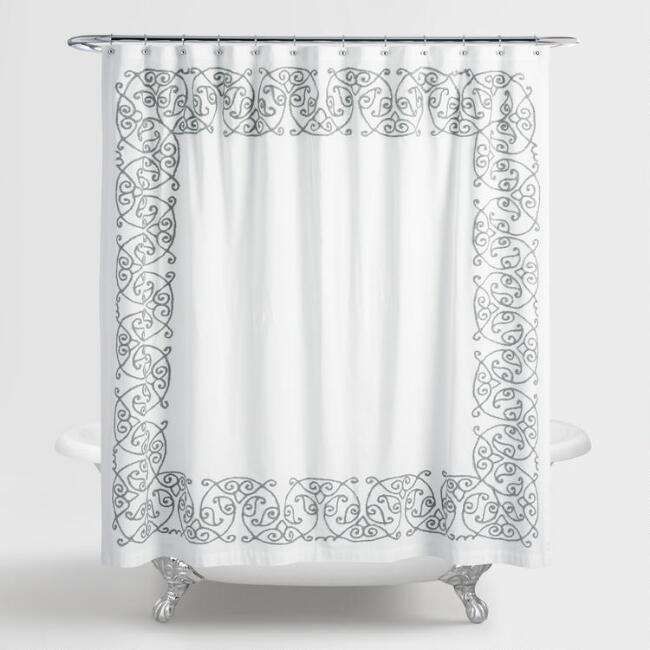 Gray Embroidered Serena Shower Curtain