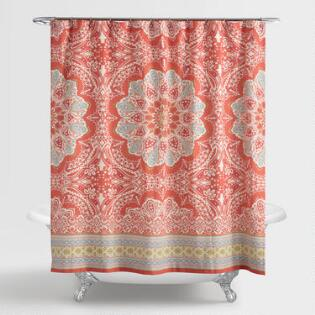 grey and coral shower curtain. Coral Medallion Lucia Shower Curtain Curtains  Rings World Market
