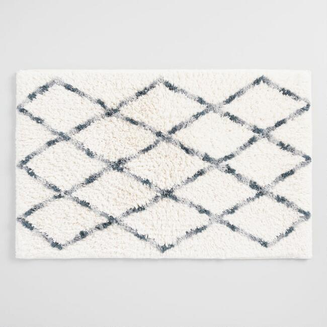 Gray and Ivory Moroccan Shag Bath Mat