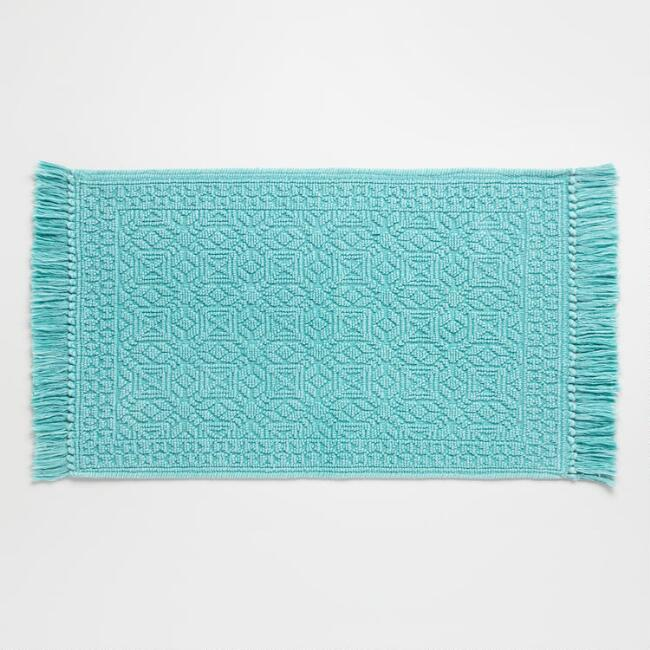 Teal Geo Stonewashed Woven Bath Mat