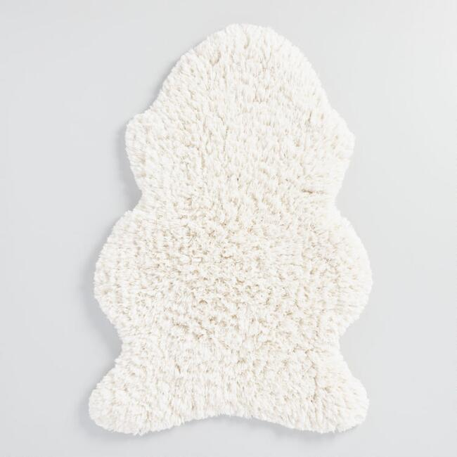 Ivory Sheep Shag Bath Mat