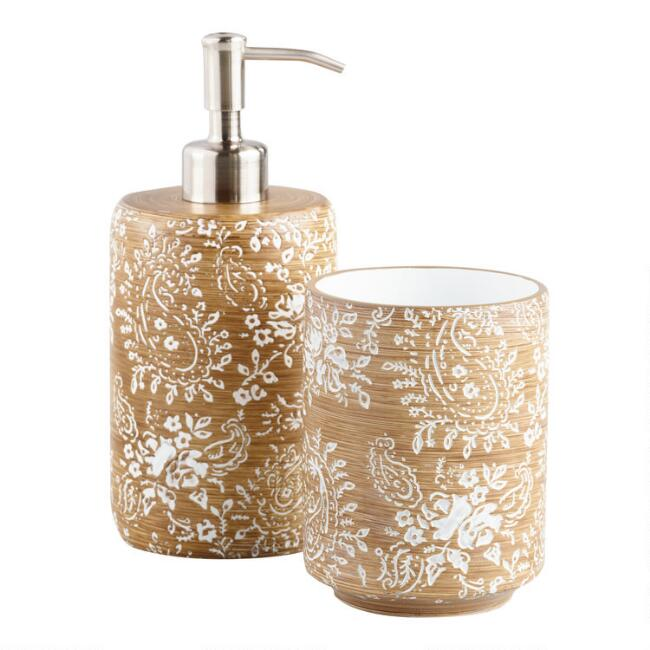Paisley Carved Resin Bath Accessories Collection