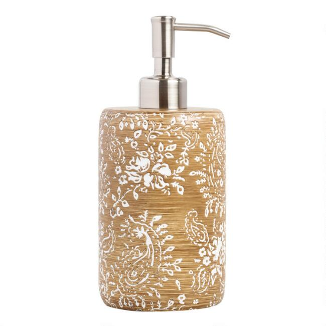 Paisley Carved Resin Liquid Soap Dispenser