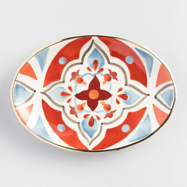 Oval Coral and Gold Ceramic Soap Dish
