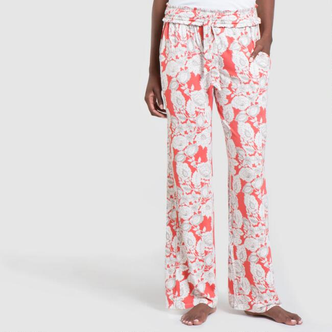 Coral and Gray Floral Philippa Pajama Pants