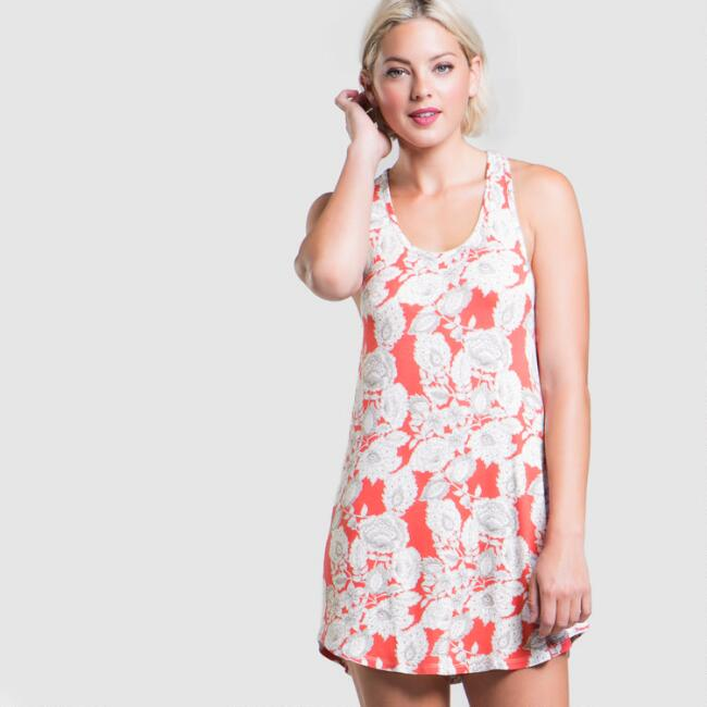 Coral and Gray Floral Philippa Tank Sleep Top
