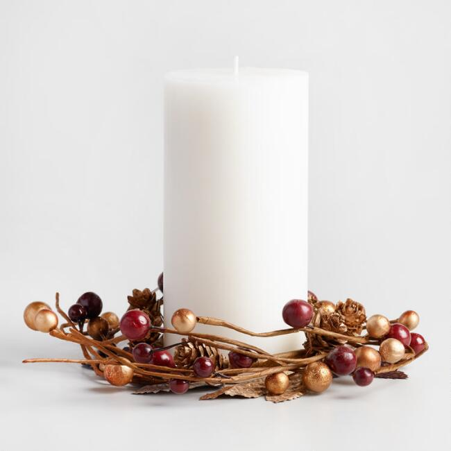 Metallic Berry Candle Ring