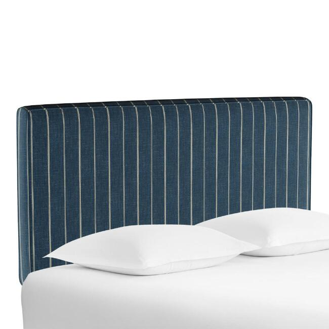 Indigo Blue Stripe Loran Upholstered Headboard