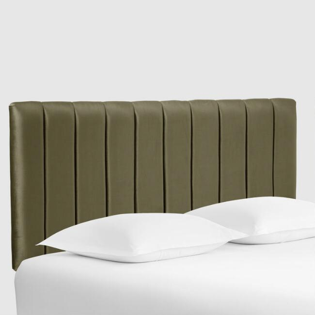 Pine Green Bran Channel Back Upholstered Headboard