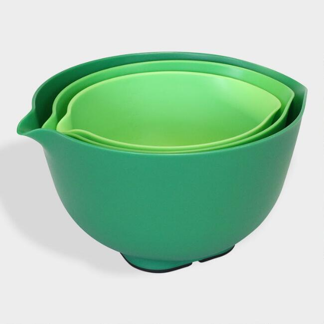 Green Nesting Mixing Bowls with Lids 6 Piece